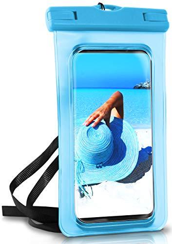 ONEFLOW Wasserdichte 360° Handy-Hülle für alle Smartphones [Waterproof Cover] Touch-Funktion und Kamera-Fenster + Armband und Schlaufe zum Umhängen komplett Wasserfest, Grün (Palm-Green)