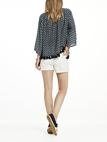 Scotch & Soda Maison Viscose Printed Boho Top with Tassel Hem and Lace Up Front, Hauts Femme Mehrfarbig (Combo D 20)