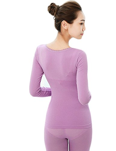 Menschwear Damen Thermal 2 Stück Set Klassik Heavyweight Set Top & Bottom Fleece Gefüttert Violett