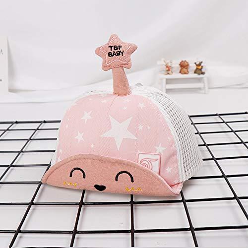 mlpnko Fünf-Sterne-Kinder net Hut Neue weiche Kappen Cartoon Kinder Hut Baby Sonnenhut Sonnencreme Rosa 48cm geeignet für 1-3 Jahre - Cowboy Kostüm Für 1 Jahr Alt