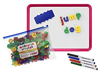 Educational Resource Set - A4 Sloped Magnetic Dry-Wipe White Board with 144 Magnetic Lower Case Letters, Pens and Board Rubber by Paul Norman Plastics Ltd