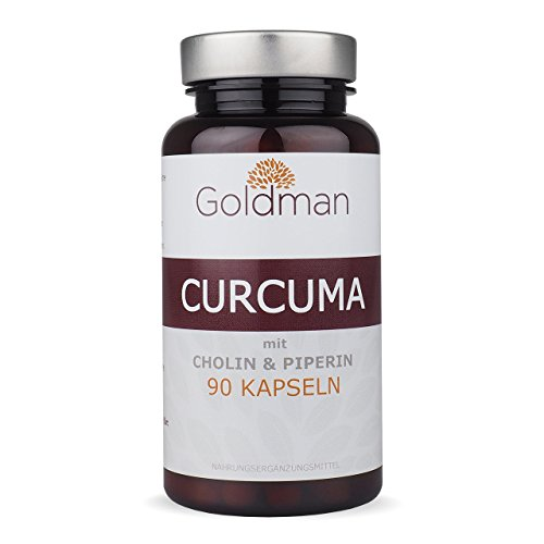 Goldman Kurkuma mit Piperine & Cholin • 90 Kapseln für 1,5 Monate • Natürliches Curcumin mit Piperin • Longa Wurzel & schwarzer Pfeffer • Vegan • Made in Germany