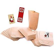 25pequeñas bolsas de papel kraft con suelo (14x 22x 5,6cm) para bolsas de regalo y otros
