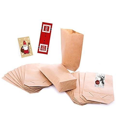 1a-Qualität - 25 kleine braune Papier-Beutel Papiertüten Tütchen Tüten (mit Testaufklebern !!!) mit Boden (14 x 22 x 5,6 cm) Kraftpapier für für Geschenktüten, Adventskalender, Geschenke verpacken