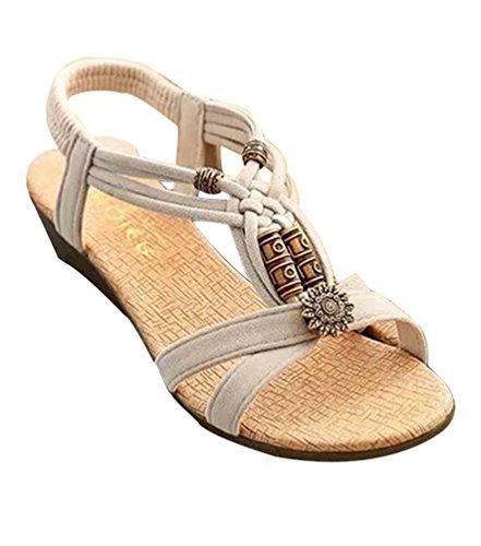 YOUJIA Sandales compensées Bohemian Peep Toe Perlé lanière cheville en T Slingback Chaussures de Plage Beige
