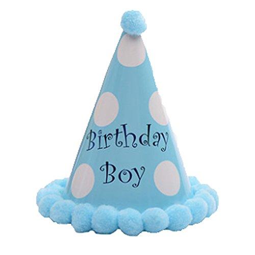 Set de 3 Kids Birthday Hat en peluche Chapeau de fête pour les enfants, Blue Boy