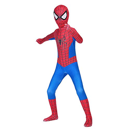 RNGNBKLS Kind Spiderman Kostüm Halloween Karneval Cosplay Party Anzug Superheld Spandex/Lycra Verkleidung,D-140(130-139cm) (Spandex Lycra Kostüm)