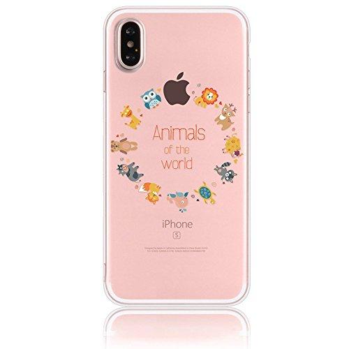 Per Apple iphone X 5.8 Case Cover, Sunroyal [Anti-scratch] [Protezione goccia] TPU Gel Silicone Custodia Caso Creative logo Morbido Copertura Trasparente Cristallo Chiaro Bumper Soft Skin Protezione, Cartoon08