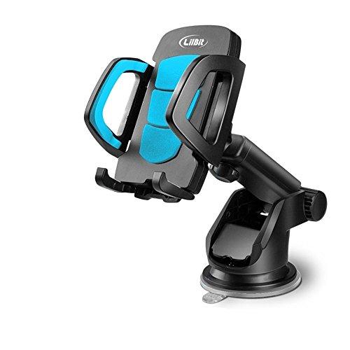 Saugnapf Windschutzscheibe (LilBit Autotelefon Halterung, Universal Handyhalter und lange Arm Windschutzscheibe Handy Cradle mit Saugnapf für 3,5-6,5 Zoll Iphone Smartphone GPS, Schwarz und Blau)