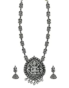 Zaveri Pearls Dark Antique Oxidised Temple Necklace Set for Women (Silver) (ZPFK5989)