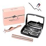 Magnetische Wimpern,Magnetic Eyeliner,3D Langlebiger Eyeliner Set Wiederverwendbare 5 Magnete,Gespiegelte Box,Pinzette (Schwarz)
