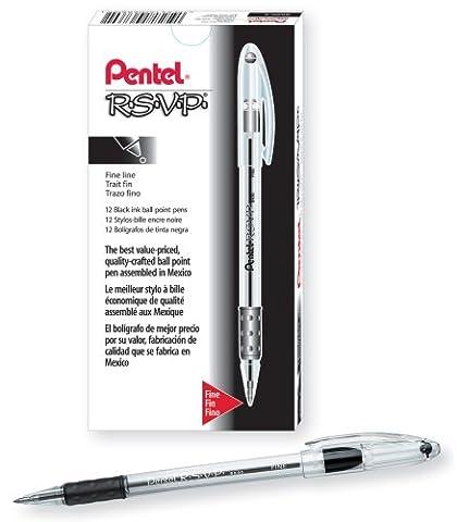 R.S.V.P. Ballpoint Stick Pen, Black Ink, Fine, Dozen, Sold as 1 Dozen