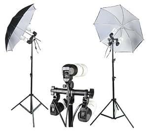 PhotoGeeks CUKBW2 Continuous Lighting Photography Kit / 2 x 83cm Diameter Umbrella's / 6 x 30w Fluorescent 5500k Light Bulbs / 2 x 2.2m Stands