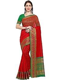 G Stuff Fashion Women's Cotton Saree With Blouse Piece (Ta-42_Dark Red Peacock Saree_Red)