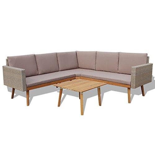 mewmewcat 13-TLG. Polyrattan Lounge Set Loungemöbel Loungeset Loungegruppe Grau