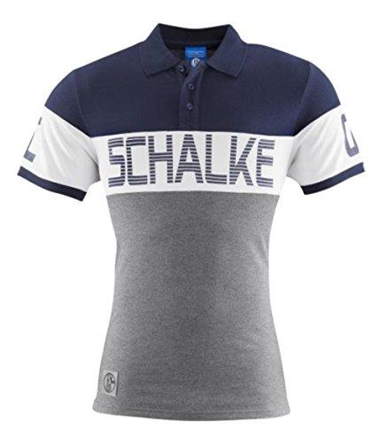 FC Schalke 04Polo Contraste Color Blanco, Hombre, Blau, weiß, Grau, Medium