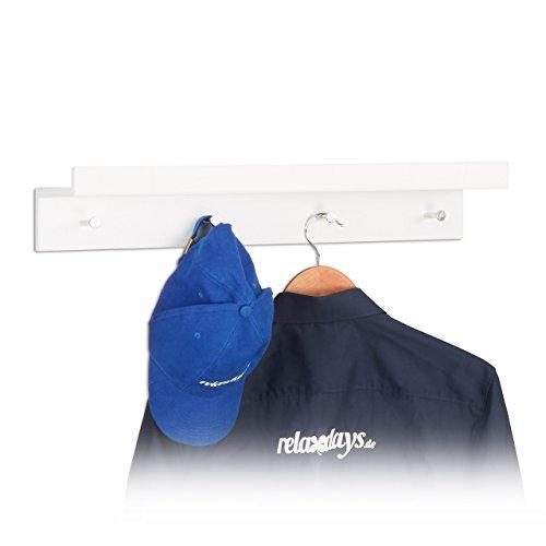 Relaxdays Garderobenleiste mit 4 Haken & Regalbrett, Wandleiste, MDF, HBT: 10x60x11,5cm, weiß...