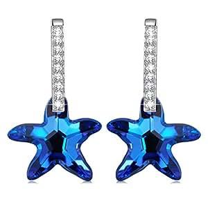 Kate Lynn Women Rhodium Plated Crystal from Swarovski Mermaid Tears Drop Dangle Earrings Nickel Free Passed SGS test kvhQmS4LcY