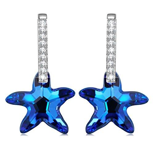 IN LADY Estrella de mar Mujers Pendientes Cristales Azules SWAROVSKI Joya Regalo...