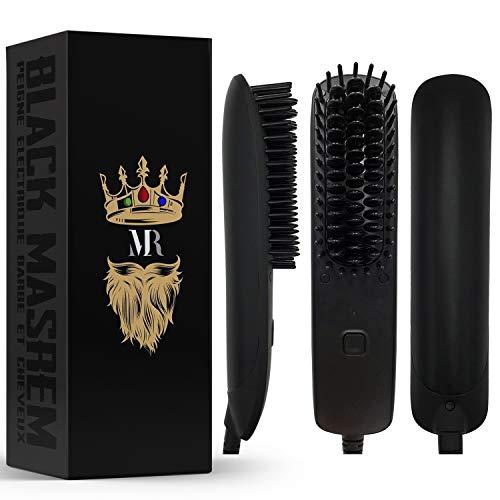 BLACK MASREM Peigne Electric à Barbe 2 en 1 ● Lisseur barbe et cheveux conçu pour les Homme ● Peigne Pour L'entretien des Cheveux et le Soin de la Barbe ● Température Réglable