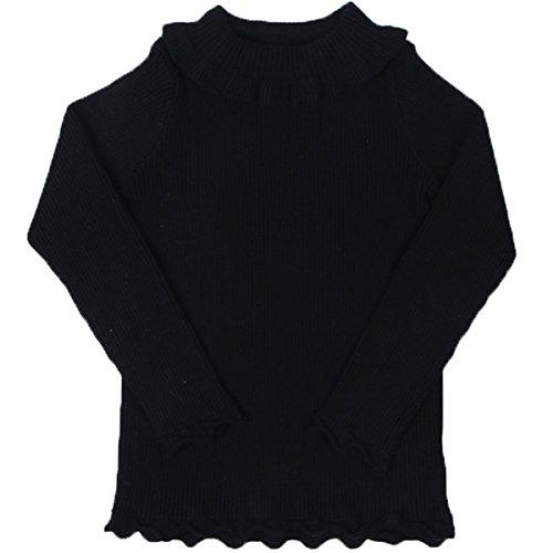 FAIRYRAIN Baby Mädchen kinder Hoher Hals Rüsche Strickjacke Strickpullover Jacket Pullover 2-3 Jahre (Rüschen-hals-strickjacke)