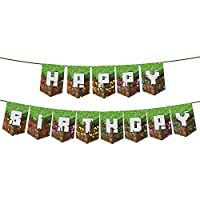 Pixel Banner for Miner Crafting banner Birthday Party Supplies