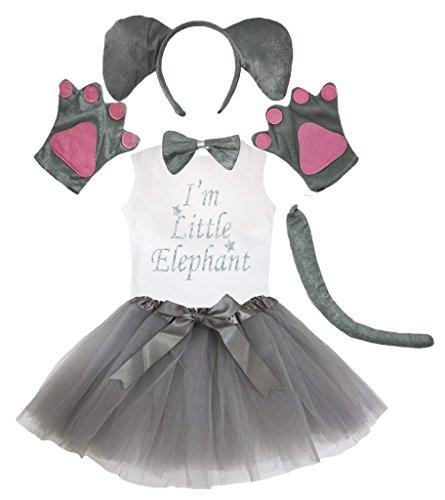 Petitebelle Elefant Stirnband Paw Bogen Schwanz Hemd Gazerock 6pc Set Kinder One Size Grau