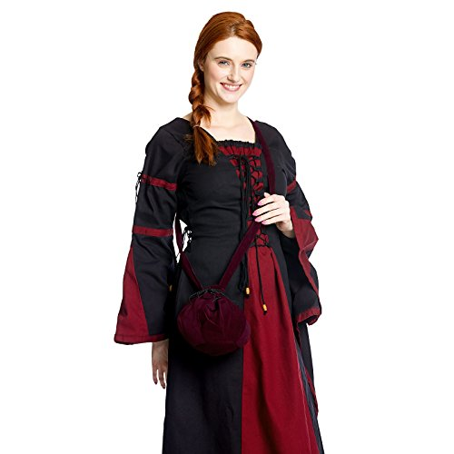 Schnürbare Mittelalter Tasche, bordeaux, mit langem Schulterband, ideal für Kostüm oder Party zum Verstauen von Utensilien - 2