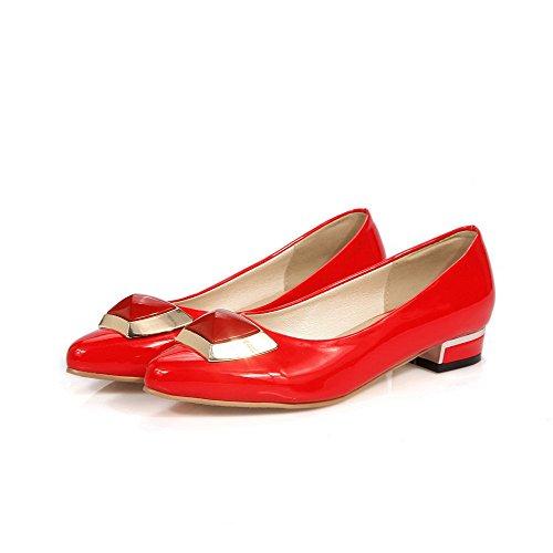 VogueZone009 Damen Pu Leder Niedriger Absatz Spitz Zehe Rein Ziehen Auf Pumps Schuhe Rot