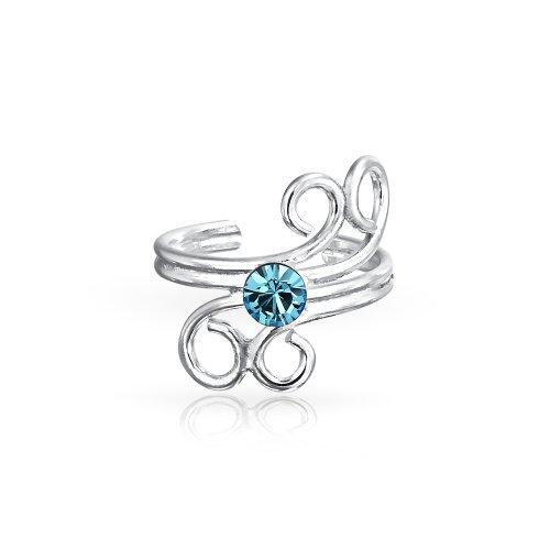 Aqua Blau Kristall Swirl Spiral Kabel Knorpel Ohrstulpe Ohrringe Wickeln Helix Ohrring Für Damen 925 Sterling Silber