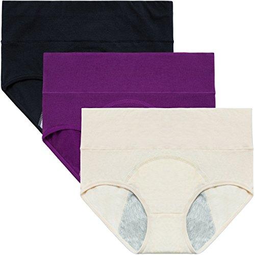 INNERSY 3Pack Frauen Unterwäsche Postpartale Regelblutung Briefs Dicht Schützende Bio-Baumwolle Höschen(M-EU 40, Color2) (Bio-höschen)