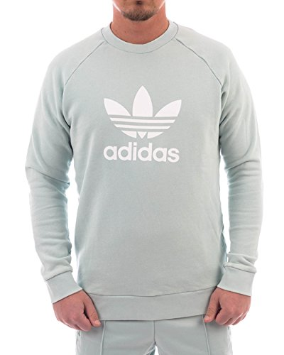 adidas Trefoil Warm-Up Crew Sudadera, Hombre, Ash Green, Large