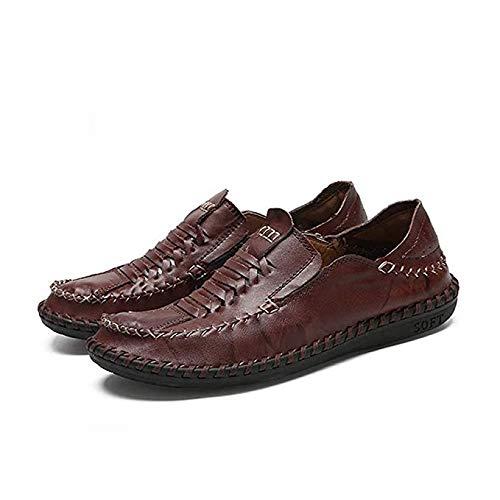 ismus Schuh Weiche Atmungsaktive Bootsschuhe Vater Geschenk Modetrend Schuh For Männer Slip On Leder Gummisohle Nähprozess Lässig Leicht For Reisen Im Freien ()