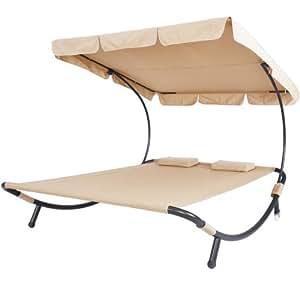 Miadomodo Lettino da giardino 2 posti con schienale e tetto parasole colore a scelta (beige)
