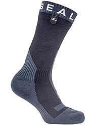Seal Skinz Waterproof Trekking Thick Mid Sock Calcetines, Negro/Gris Oscuro, Small