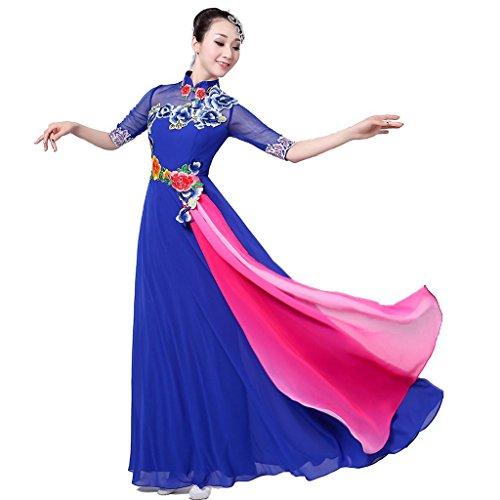 Tanz Musik Kostüm Theater - Wgwioo chor kostüm Nationale Tanz chor Kleid Moderne Tanz Folk Musik Leistung Frauen eröffnung Big Rock Klassische bühne national, Blue, XL