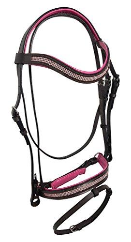 Equipride Kristall-Trensenzaum, Zügel aus Leder- und Gummimaterial, Schwarz mit rosa, Black with Pink Padded, Volle Größe