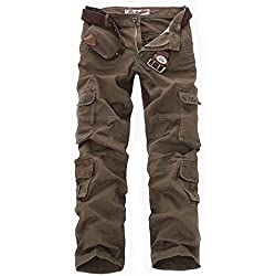 Cloudstyle Pantalon de travail style cargo - multipoches pour homme - Marron - Taille 44