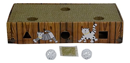 ENVIRONMENTALLY FRIENDLY CAT SCRATCHER & ACTIVITY TOY including CATNIP and TOYS 4