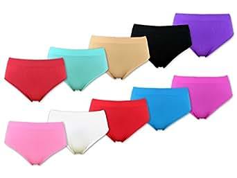 5 - 30 Stück Damen Slips Microfaser - Unterwäsche Schlüpfer (M = 38-40, Farbmix / 10 Stück)