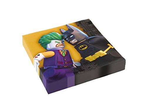 Amscan 9901825 Servietten 20 Stück Lego Batman für Kinder-Geburtstag oder Motto-Party