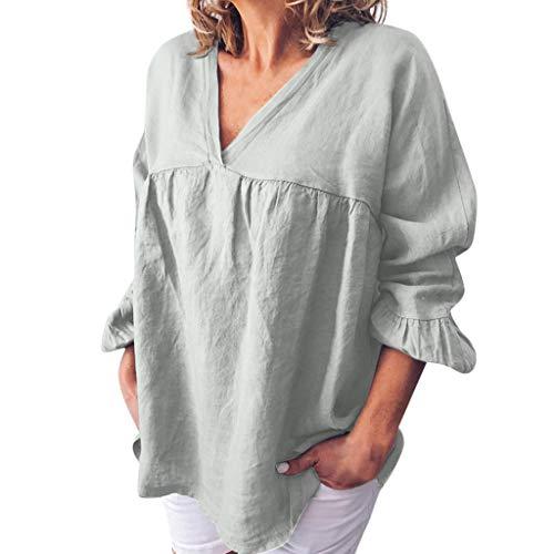 Zegeey Damen Oberteil T-Shirt große größen Halbe Ärmel V-Ausschnitt solide aushöhlen Böhmen Lässige Lose Pullover Bluse Tops Hemd Tunika(S19-Grau,EU-38/CN-M