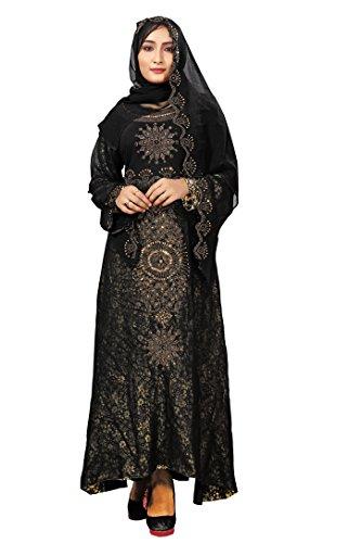 Justkartit New Stylish Printed High Quality Dubai Abaya Burkha With Chiffon Hijab...