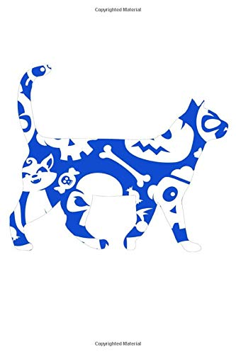 Blue And White Halloween Cat: Blood Pressure Log book