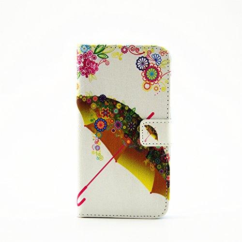 Nancen Apple iPhone 6 / 6S (4,7 Zoll) Hülle, PU Ledertasche Flip Cover Handyhülle Feuerwerk Muster Design Protection Etui Brieftasche Case Handy Schutzhülle Holster Telefon-Kasten mit Standfunktion Blume Regenschirm