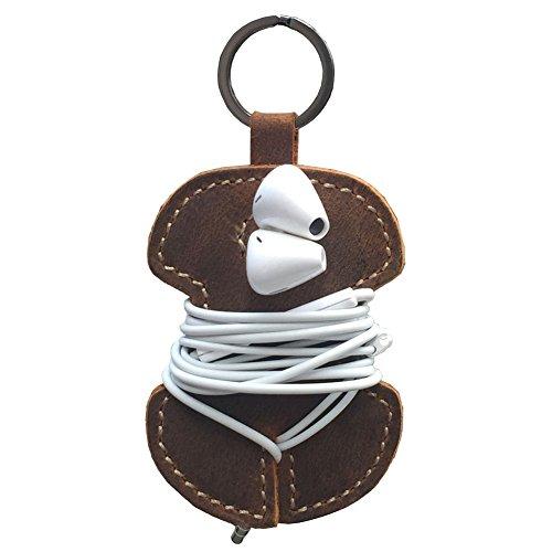100% cuir Crazy Horse Porte-clés Cordon Organiseur casque Wrap casque Cord Wrap, permet de garder le fils sécurisée tout en regardant, Cord Wrap Organisateur, les écouteurs et câble USB Keeper (Hez01)
