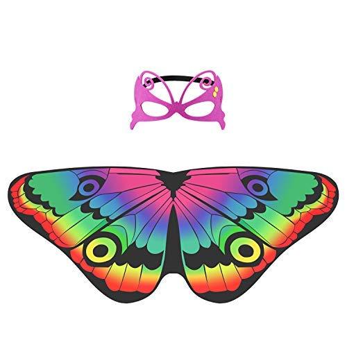 Hifot Dreamy Dance Schmetterling Schal Schmetterling Fee Flügel Prinzessin Kleid Up Party Favor Supplies mit Filzmaske
