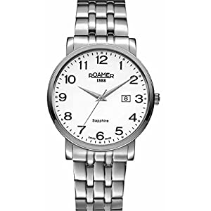 Roamer Men's Quartz Watch with White Dial Analogue Display and Silver Stainless Steel Bracelet