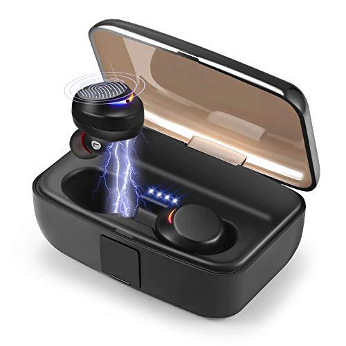 Auriculares Bluetooth, Verdaderos Auriculares Inalambricos, 120 Horas de reproducción, IPX8 Cascos Bluetooth 5.0 con 3000 mAh Caja de Carga Portátil, Cancelación de Ruido CVC 8.0, Hi-Fi Estéreo