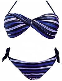 Maillot de bain 2 deux pièces femme bikini bandeau rayé bleu plusieurs tailles
